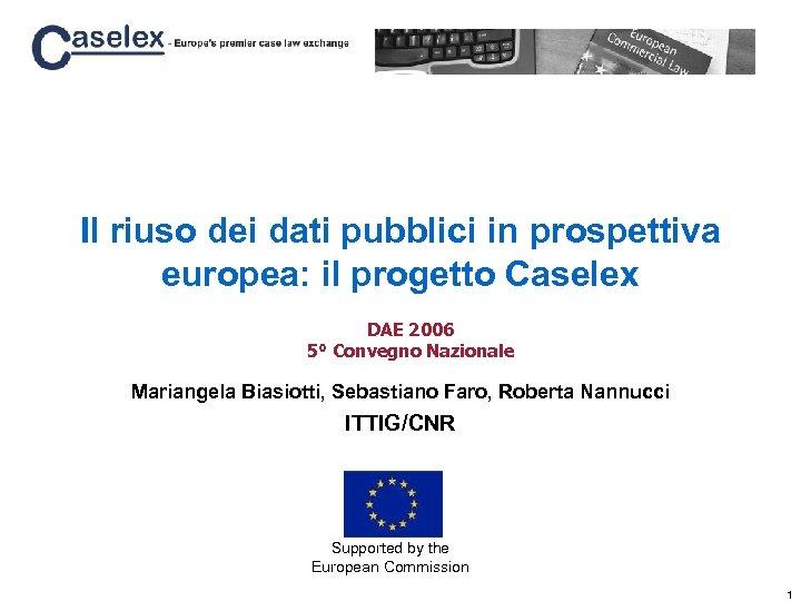 Il riuso dei dati pubblici in prospettiva europea: il progetto Caselex DAE 2006 5°