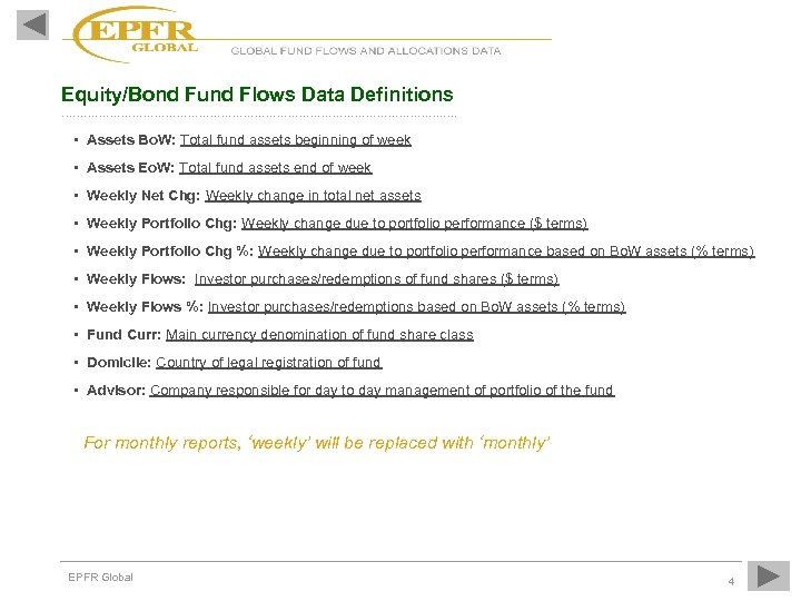 Equity/Bond Fund Flows Data Definitions ……………………………………………. …. • Assets Bo. W: Total fund assets