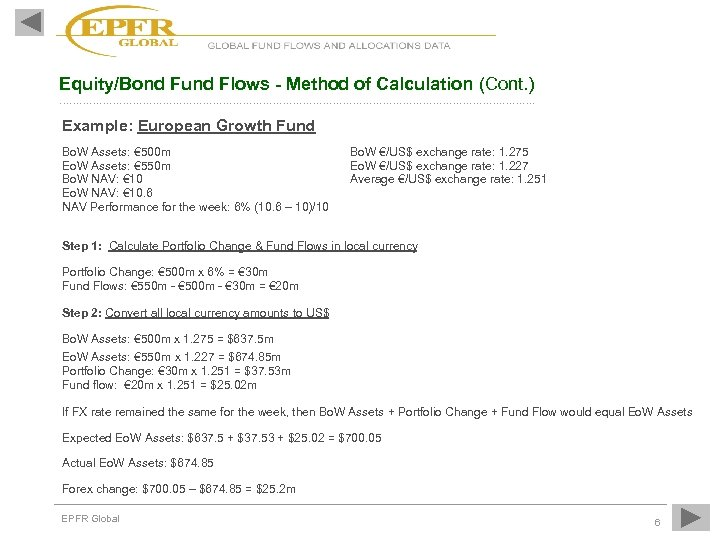 Equity/Bond Fund Flows - Method of Calculation (Cont. ) …………………………………………………………. Example: European Growth Fund