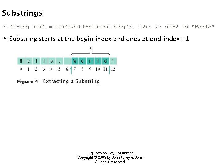 Substrings • String str 2 = str. Greeting. substring(7, 12); // str 2 is