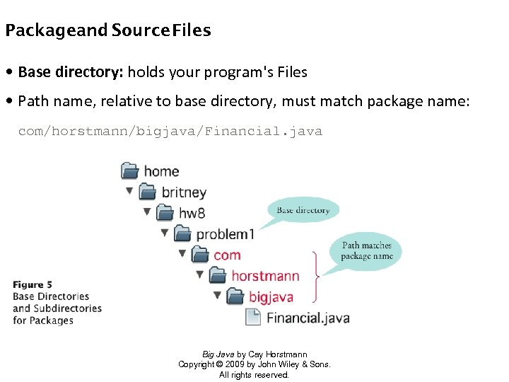 Packageand Source Files • Base directory: holds your program's Files • Path name, relative