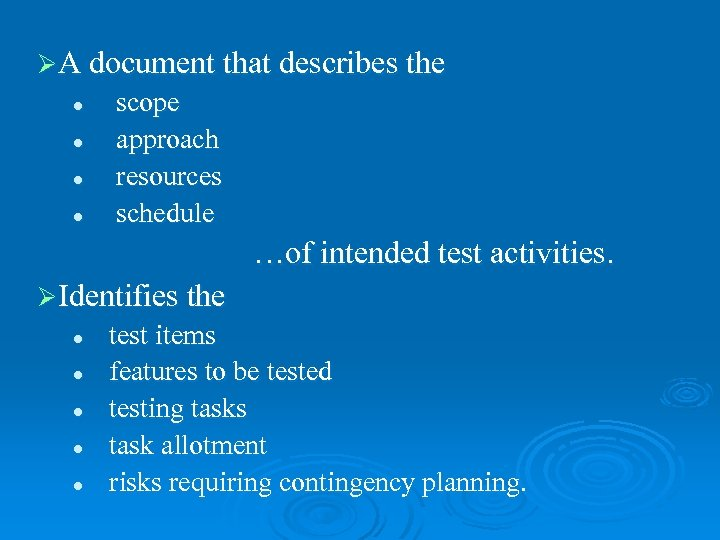ØA document that describes the l l scope approach resources schedule …of intended test