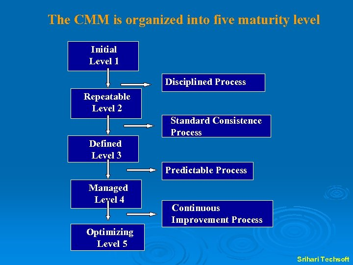 The CMM is organized into five maturity level Initial Level 1 Disciplined Process Repeatable