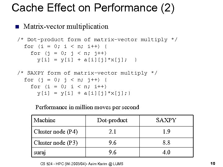 Cache Effect on Performance (2) n Matrix-vector multiplication /* Dot-product form of matrix-vector multiply