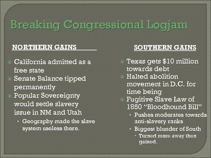 Breaking Congressional Logjam NORTHERN GAINS California admitted as a free state Senate Balance tipped