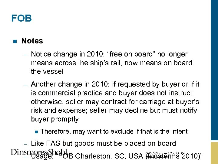 """FOB n Notes – Notice change in 2010: """"free on board"""" no longer means"""