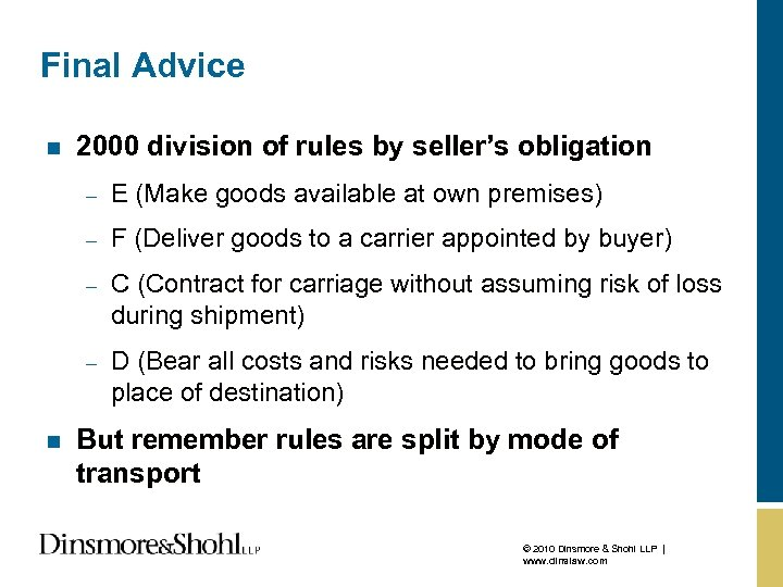 Final Advice n 2000 division of rules by seller's obligation – – F (Deliver