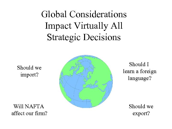 Global Considerations Impact Virtually All Strategic Decisions Should we import? Should I learn a