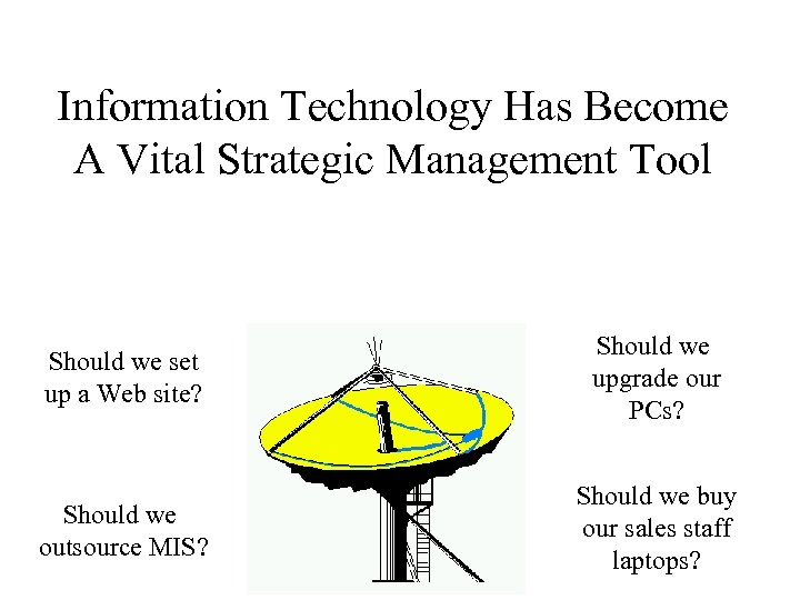 Information Technology Has Become A Vital Strategic Management Tool Should we set up a