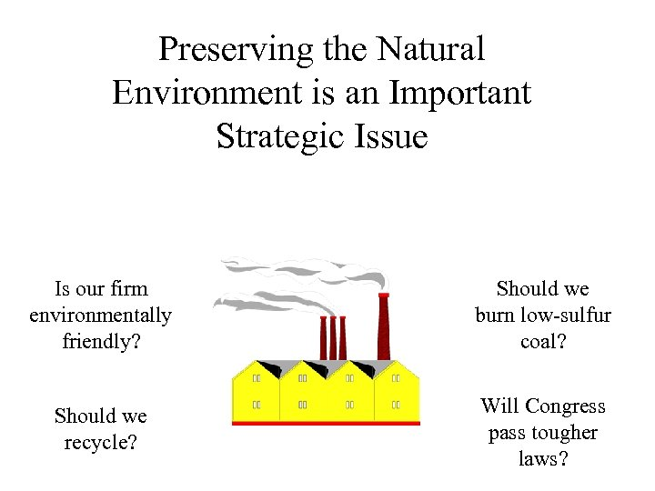 Preserving the Natural Environment is an Important Strategic Issue Is our firm environmentally friendly?