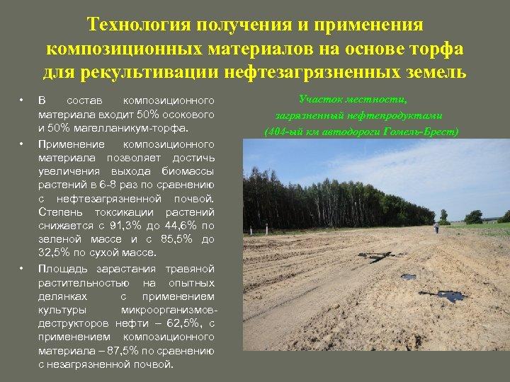 Технология получения и применения композиционных материалов на основе торфа для рекультивации нефтезагрязненных земель •