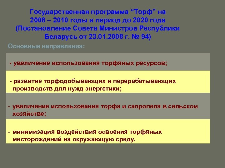 """Государственная программа """"Торф"""" на 2008 – 2010 годы и период до 2020 года (Постановление"""