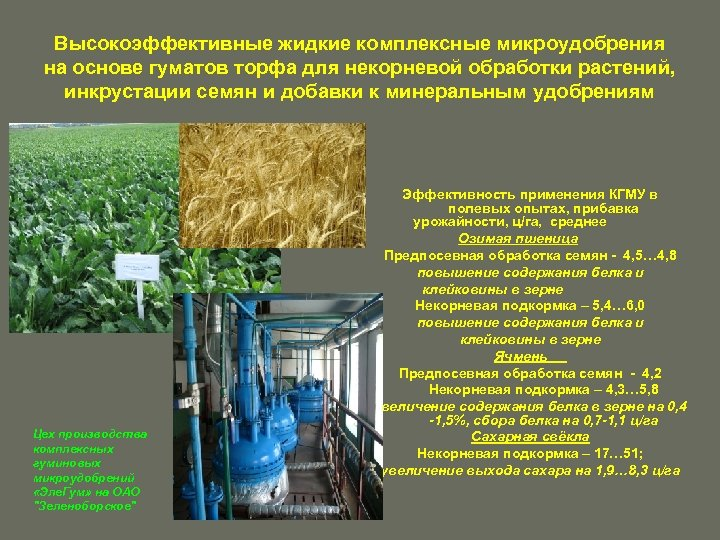 Высокоэффективные жидкие комплексные микроудобрения на основе гуматов торфа для некорневой обработки растений, инкрустации семян
