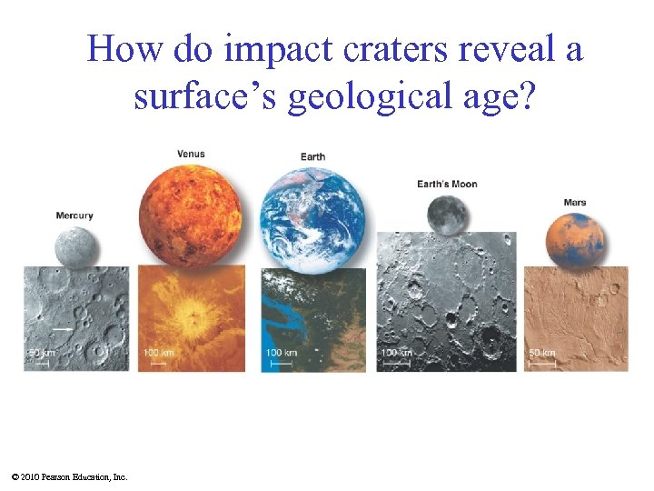 How do impact craters reveal a surface's geological age? © 2010 Pearson Education, Inc.