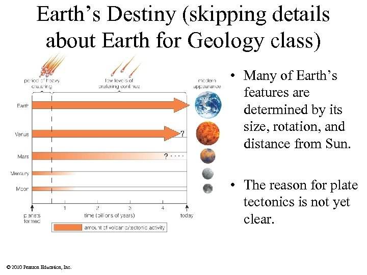 Earth's Destiny (skipping details about Earth for Geology class) • Many of Earth's features