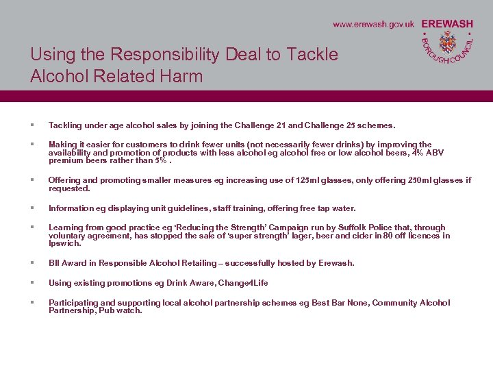 Using the Responsibility Deal to Tackle Alcohol Related Harm § Tackling under age alcohol