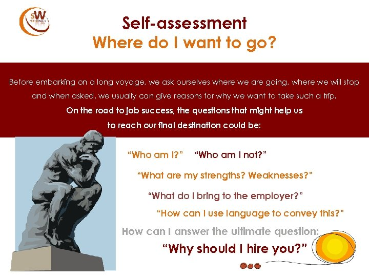 Self-assessment Where do I want to go? Before embarking on a long voyage, we