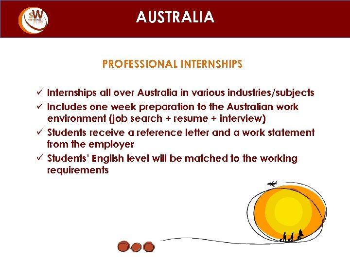 AUSTRALIA PROFESSIONAL INTERNSHIPS ü Internships all over Australia in various industries/subjects ü Includes one