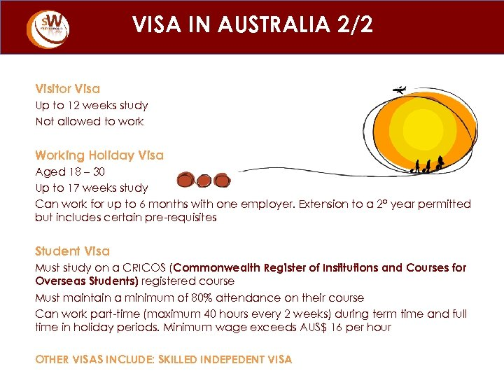 VISA IN AUSTRALIA 2/2 Visitor Visa Up to 12 weeks study Not allowed to