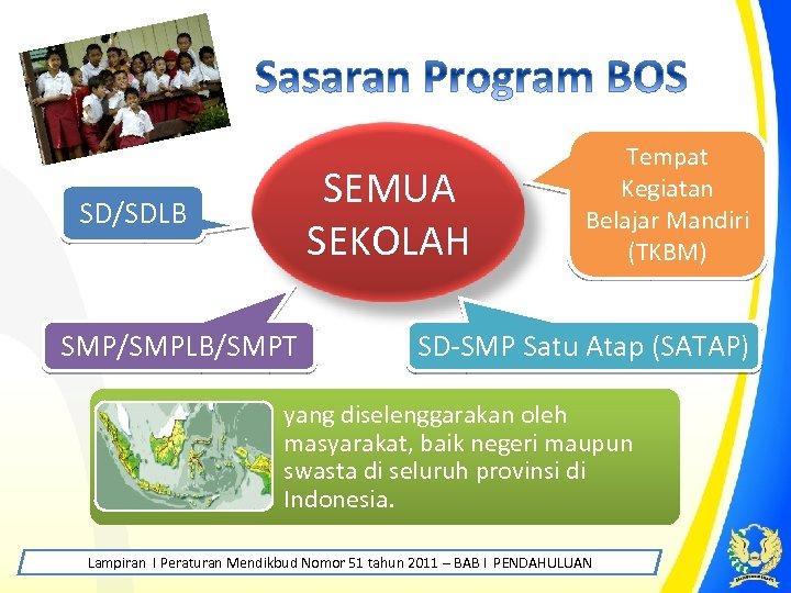 SEMUA SEKOLAH SD/SDLB SMP/SMPLB/SMPT Tempat Kegiatan Belajar Mandiri (TKBM) SD-SMP Satu Atap (SATAP) yang