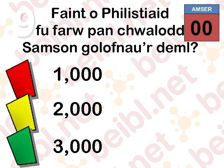 9 Faint o Philistiaid 00 01 02 03 04 05 06 07 08 09