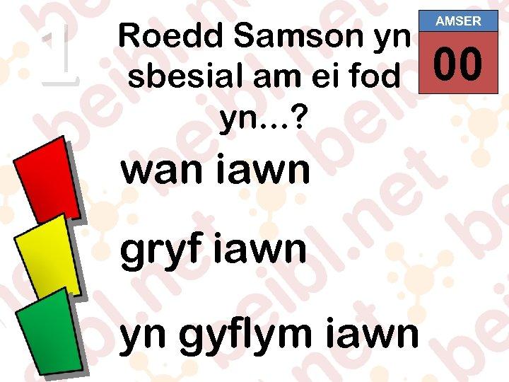 1 Roedd Samson yn sbesial am ei fod yn. . . ? wan iawn
