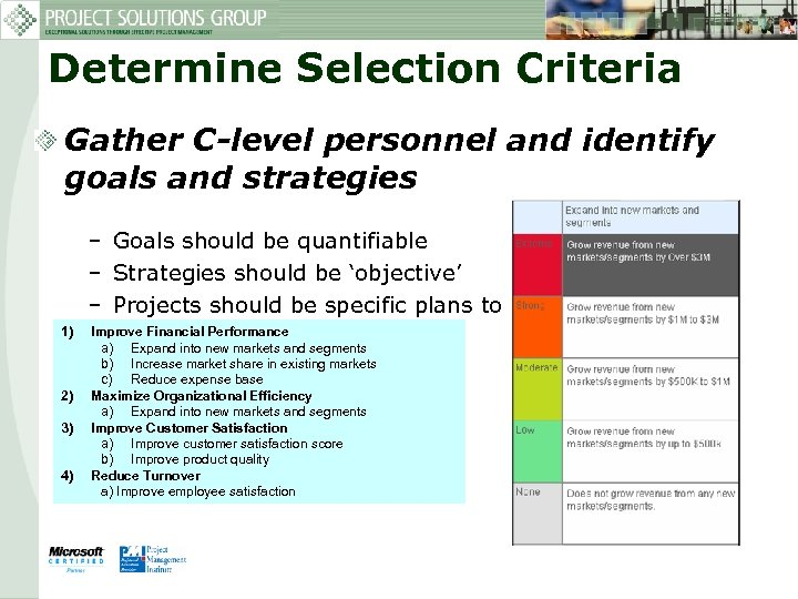 Determine Selection Criteria Gather C-level personnel and identify goals and strategies – Goals should