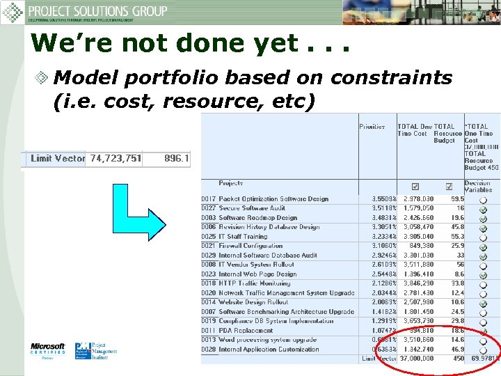 We're not done yet. . . Model portfolio based on constraints (i. e. cost,