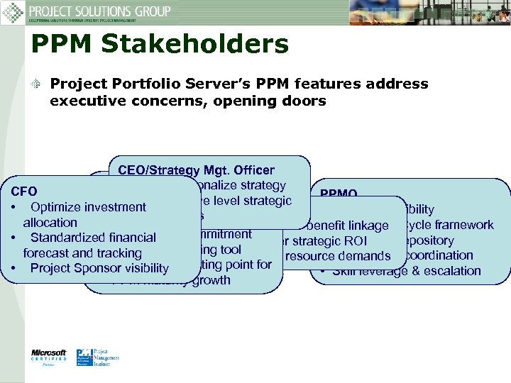 PPM Stakeholders Project Portfolio Server's PPM features address executive concerns, opening doors CEO/Strategy Mgt.