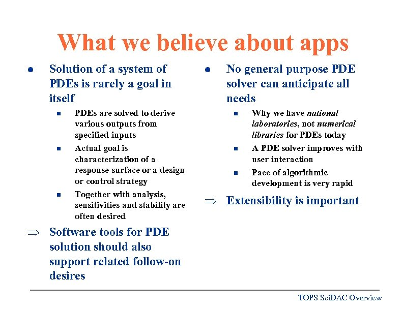 What we believe about apps l Solution of a system of PDEs is rarely