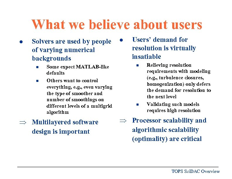 What we believe about users l Solvers are used by people of varying numerical