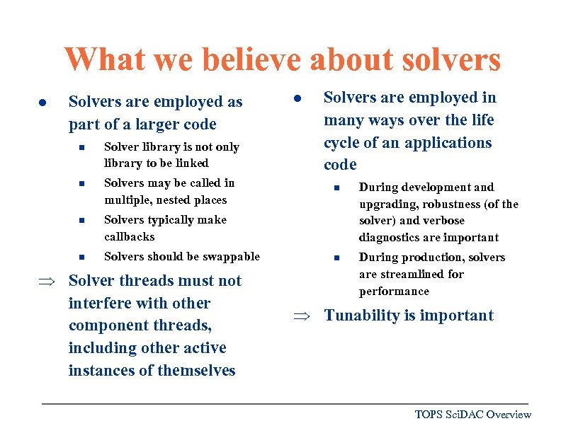What we believe about solvers l Solvers are employed as part of a larger