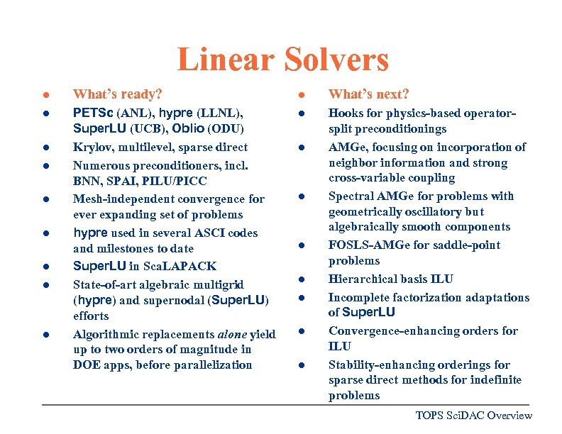Linear Solvers l What's ready? l What's next? l PETSc (ANL), hypre (LLNL), Super.