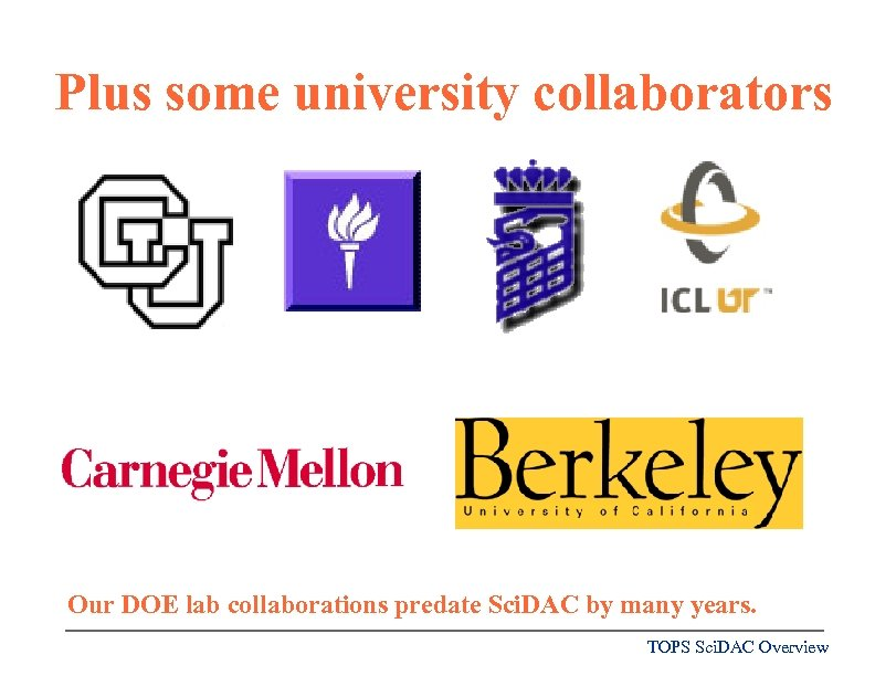 Plus some university collaborators Our DOE lab collaborations predate Sci. DAC by many years.