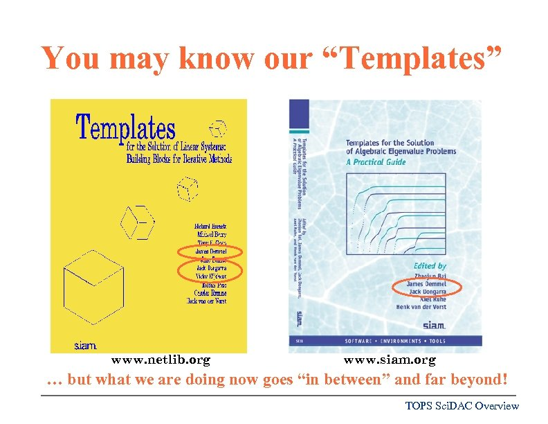 "You may know our ""Templates"" www. netlib. org www. siam. org … but what"