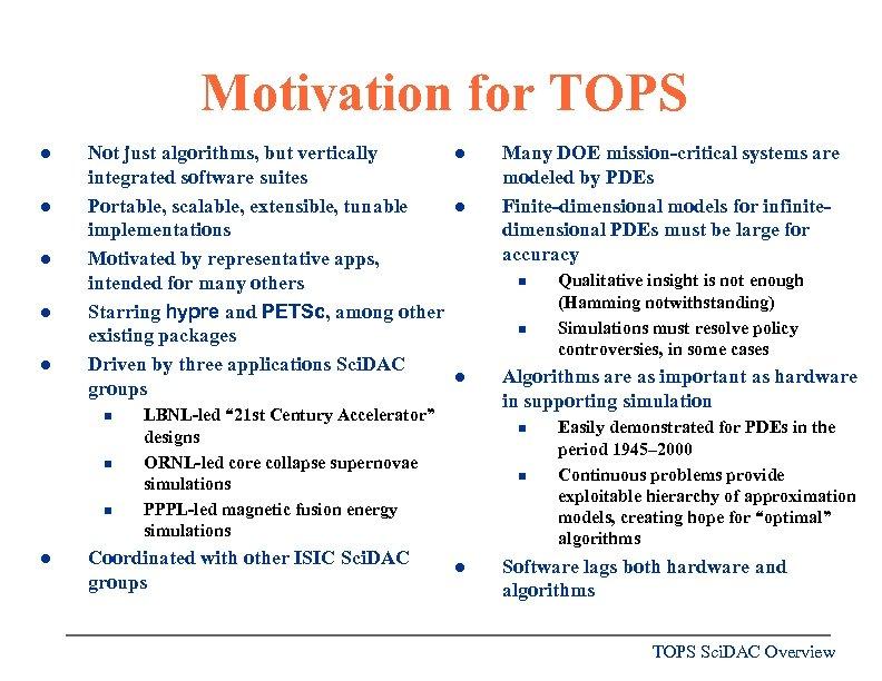Motivation for TOPS l l l Not just algorithms, but vertically integrated software suites