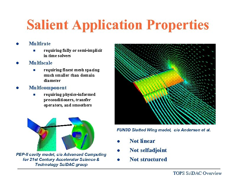 Salient Application Properties l Multirate n l Multiscale n l requiring fully or semi-implicit