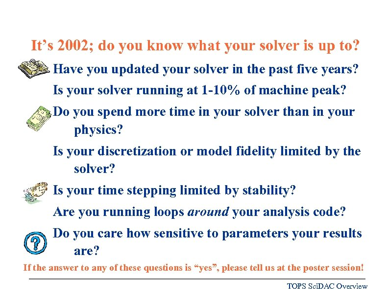 It's 2002; do you know what your solver is up to? Have you updated