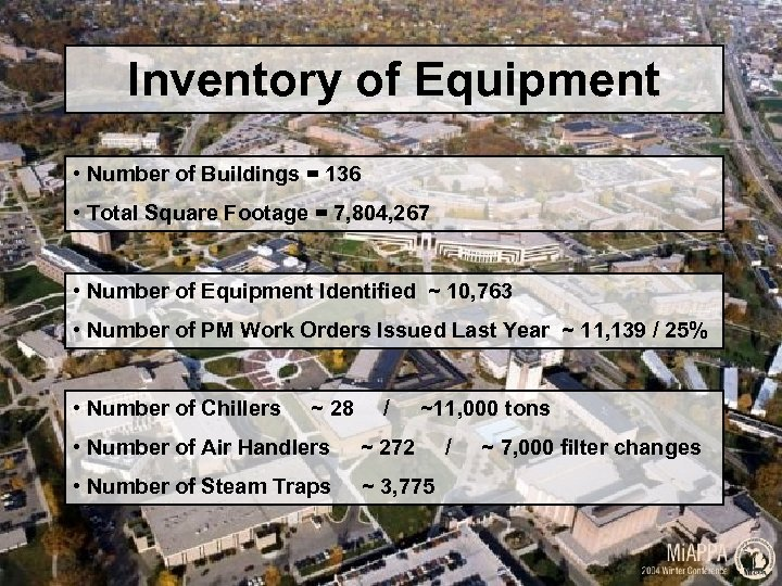 Inventory of Equipment • Number of Buildings = 136 • Total Square Footage =