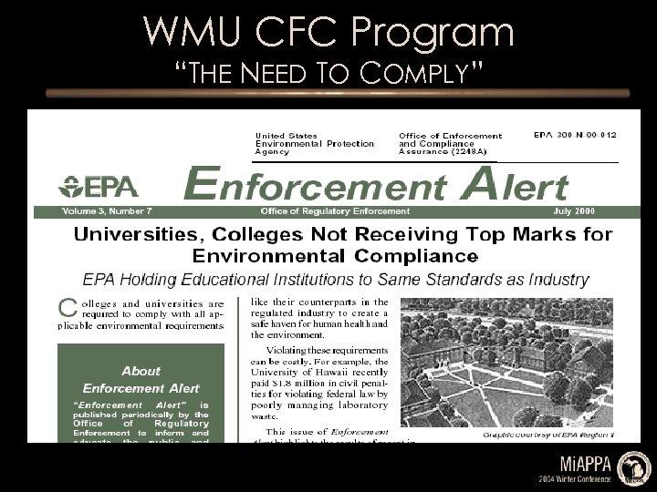 "WMU CFC Program ""THE NEED TO COMPLY"""