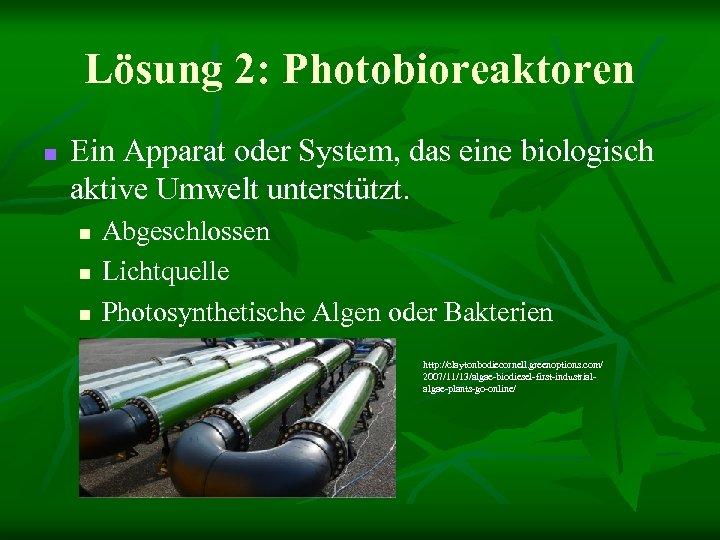 Lösung 2: Photobioreaktoren n Ein Apparat oder System, das eine biologisch aktive Umwelt unterstützt.