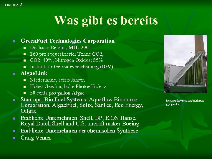 Lösung 2: Was gibt es bereits n Green. Fuel Technologies Corporation n n Algae.