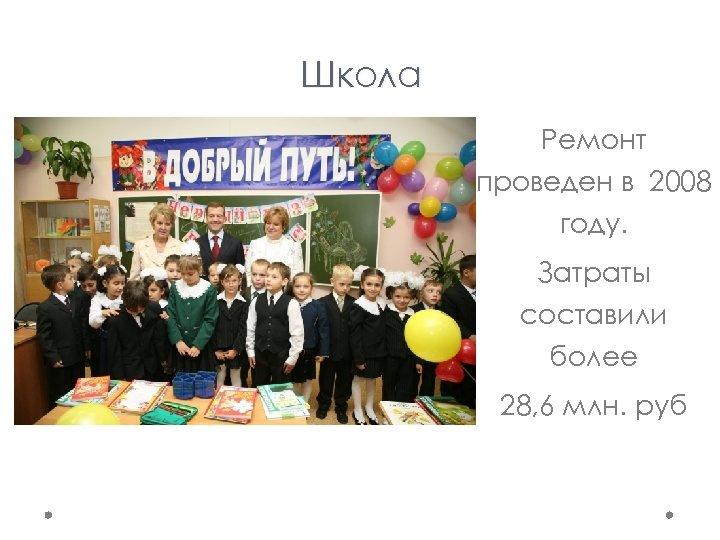 Школа Ремонт проведен в 2008 году. Затраты составили более 28, 6 млн. руб