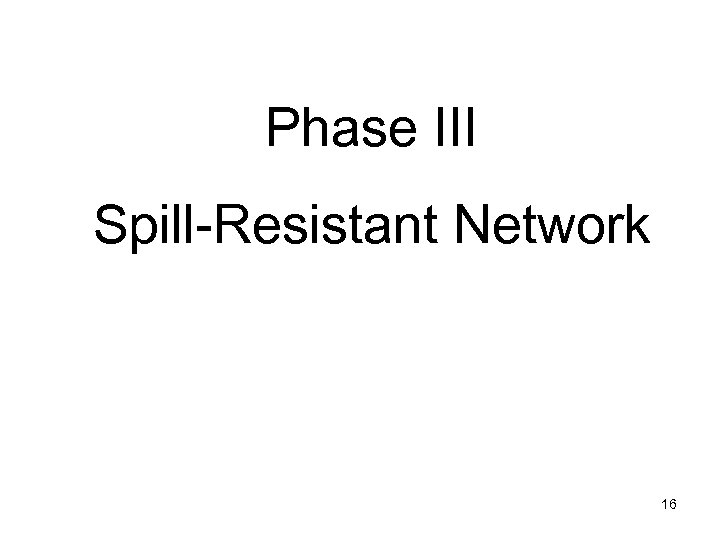 Phase III Spill-Resistant Network 16