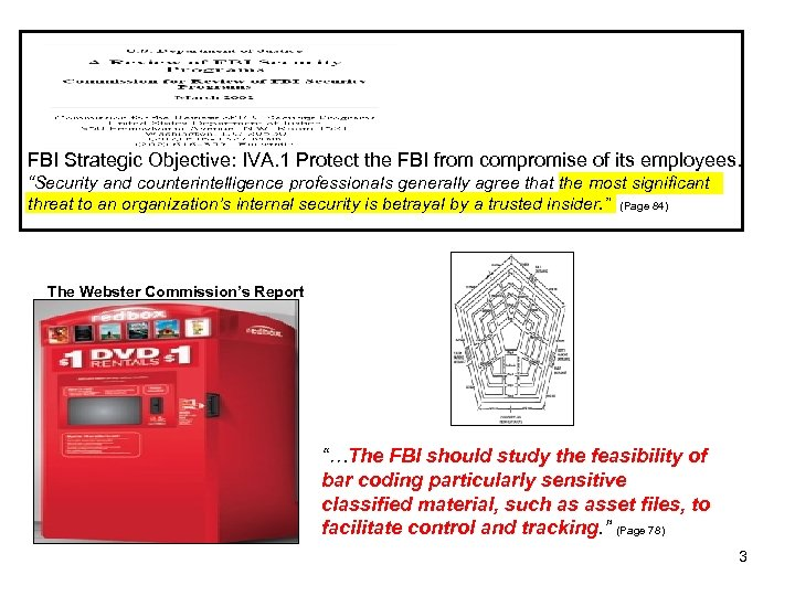 """FBI Strategic Objective: IVA. 1 Protect the FBI from compromise of its employees. """"Security"""