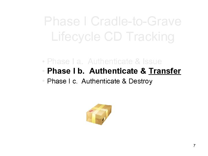 Phase I Cradle-to-Grave Lifecycle CD Tracking • Phase I a. Authenticate & Issue •