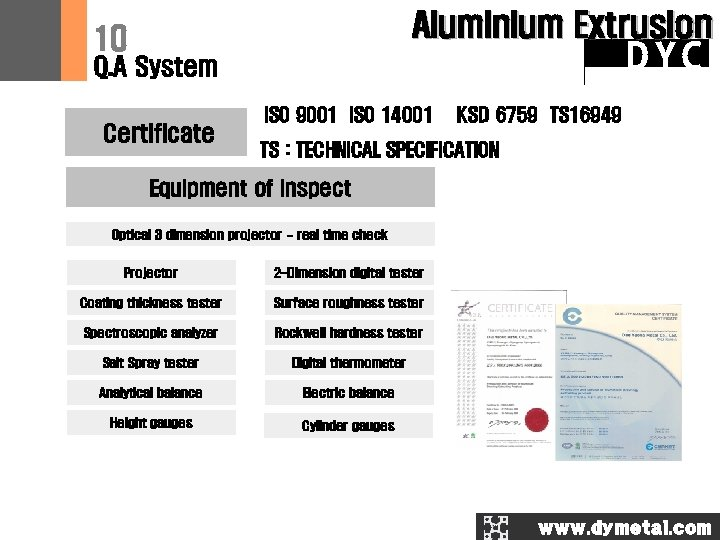 Aluminium Extrusion 10 DYC Q. A System Certificate ISO 9001 ISO 14001 KSD 6759