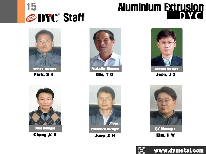 15 Aluminium Extrusion DYC Staff Factory Manager Park, S H Production Manager Account Manager