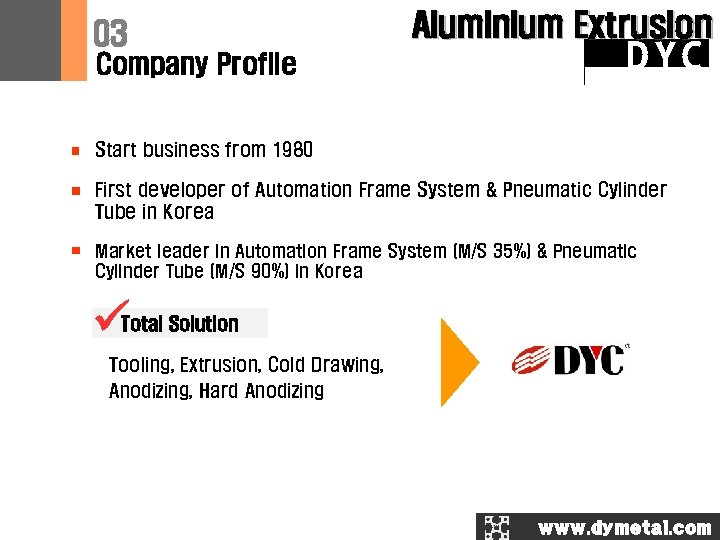 03 Company Profile Aluminium Extrusion DYC Start business from 1980 First developer of Automation