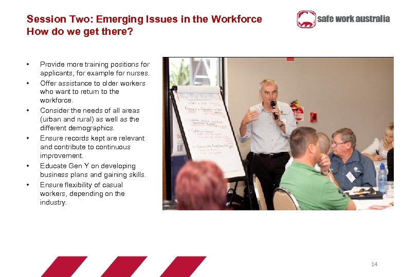 Session Two: Emerging Issues in the Workforce How do we get there? • •